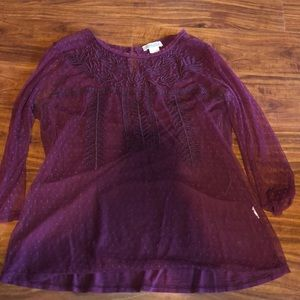 Maroon lucky brand too with sheer overlay/sleeves